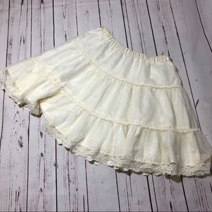 Hanna Andersson White Lacy Tiered Skirt Girls 14